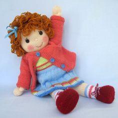 BELINDA JANE - knitted toy doll - PDF email knitting pattern - ePattern. $4.99, via Etsy.