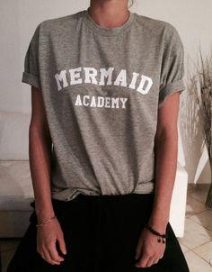 9752683a2 Mermaid academy Tshirt gray Fashion funny slogan by Nallashop T Shirt  Slogans, Slogan Tshirt,