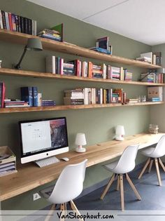 Home Office Shelves, Home Office Closet, Office Nook, Guest Room Office, Home Office Space, Home Office Design, Home Office Decor, House Design, Study Room Design