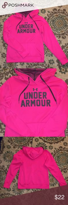 Under Armor Hoody EUC. Worn only a handful of times, semi-fitted. Very cute bright pink color! Under Armour Tops Sweatshirts & Hoodies