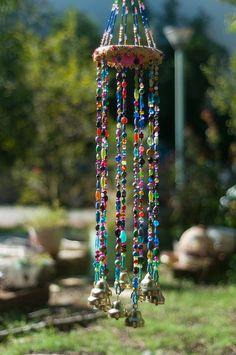 Windspiel, bunte Perlen Mobile mit Messing-Glocken, Sun Catcher, böhmische Dekor, Hippie Stil, Wind chime, wulstige Mobile mit Messing-Glocken,