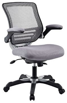 Edge Office Chair with Gray Mesh Back and Mesh Covered fabric seat - decorative black and chrome back $132