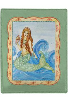 This stunning throw with a magical mermaid atop blue waves and framed with a beautiful decorative border is printed from a watercolor painting by artist Sally Eckman Roberts. Draped across a chair lying on the end of a bed or hung on the wall this lightweight throw adds beauty to any room. Made of 100% polyester this beautiful throw is machine washable and has the soft feel of cotton. Measures 50 x 60 inches with simple fringe all the way around.  Mermaid Throw by Manual Woodworkers and…