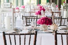 silver, pink, navy & white stripe, nautical table inspriation