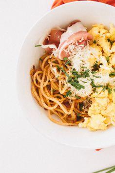 Potato Noodle Bowl with Manchego, Egg and Serrano Ham