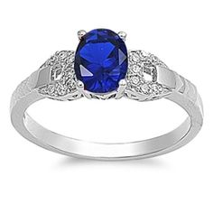 1.40 Carat Oval Cut Deep Blue Sapphire Round Russian Iced Out Diamond CZ 925 Sterling Silver Wedding Engagement Anniversary Ring Top Gift