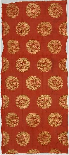 Textile with Coiled Dragons  Period:Jin dynasty (1115–1234)Culture:ChinaMedium:Plain-weave silk brocaded with metallic threadDimensions:29 1/8 x 13 in. (74 x 33 cm)Classification:Textiles-Woven