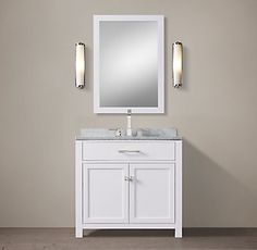 RH's Hutton Single Vanity:This versatile collection brings a spare, Parsons-like sensibility to the bath.