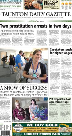 The front page of the Taunton Daily Gazette for Saturday, May 23, 2015.