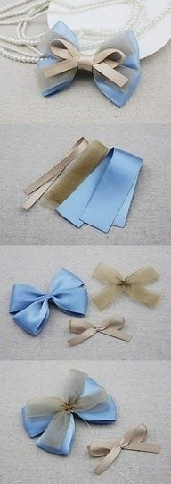 Choose from a collection of best bow tutorials to learn to make stylish bows in many different ways using ribbon, felt, fabric, paper, crochet and knitting. Ribbon Art, Diy Ribbon, Ribbon Crafts, Ribbon Bows, Ribbons, Fabric Ribbon, Diy Hair Bows, Diy Bow, Barrettes
