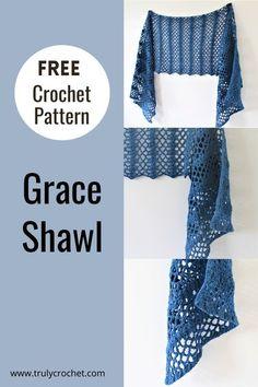 Poncho Au Crochet, Crochet Prayer Shawls, Crochet Shawls And Wraps, Prayer Shawl Crochet Pattern, Easy Crochet Patterns, Knit Or Crochet, Crochet Scarves, Crochet Clothes, Knitting Patterns