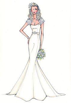 Cap sleeve wedding dress, sweetheart wedding dress, mermaid wedding dress pin from: http://www.yesmybride.net/gallery/sketches