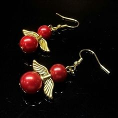 Handmade Red Glass Pearl and Gold Plated Pewter Angel Wings Dangle Earrings #CascadeJewelry