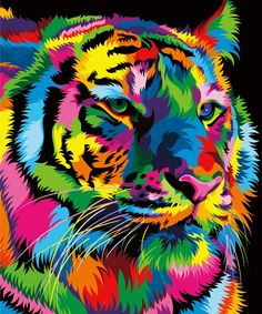 Paint By Number DIY Oil Painting By Number Tiger Animal Canvas Painting Kit - by AniqueCo on Etsy Colorful Animal Paintings, Abstract Animals, Colorful Animals, Arte Pop, Mosaic Pictures, Art Pictures, Ciel Pastel, Tableau Pop Art, Lion Cat