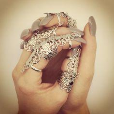 Full Finger Armor Ring - Silver