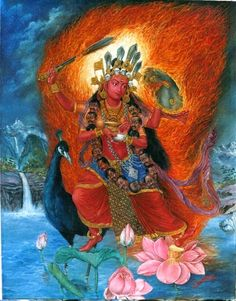Jai Maa Kaumari by Udaya Charam Srestha Kali Goddess, Indian Goddess, Mother Kali, Tibetan Art, Thai Art, Hindu Deities, Call Art, Hindu Art, Buddhist Art