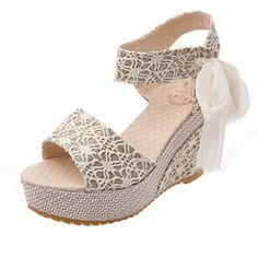 Fheaven Women's Wedge Sandals Lace Across The Top Platform High Heels Wedding Sandals with Lace Bandage Peep Toe Wedges, Wedge Sandals, Shoes Sandals, Summer Sandals, Floral Sandals, Summer Wedges, Flat Shoes, Frauen In High Heels, Flip Flop Shoes