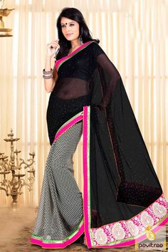 Trendy casual chiffon saree in black color that really look amazing and it will suits to every modern women in various functions and events of India. #saree,  #fancysaree, #lowestpricesaree,  #festivalwearsaree,  #sareeonline,  #newsarees, #fashionsarees,  #beautifulsaree, #trendysarees, #Indiansaree,  #sareewithblouse, #casualsaree, #officewearsaree, #lightweightsaree More: http://www.pavitraa.in/catalogs/printed-casual-sarees-online-at-low-rates/  Any Query: Call Us:+91-7698234040