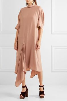 Marni - Asymmetric Washed-crepe Midi Dress - Pink - IT42
