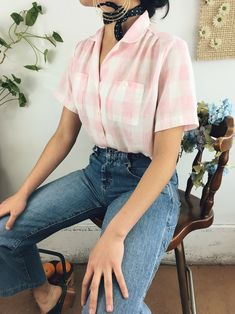 I mean...yup this is THE cutest top to ever exist. Featuring a darling pink and white checked print on a short sleeve. vintage fashion 90s, vintage fashion 1950s, vintage clothes women, retro fashion 90s, women fashion casual, vintage outfits 50s, spring outfits for teen girls, retro fashion teens, cute outfits for teen girls, retro aesthetic, trendy outfits, hipster fashion, vintage outfits 50s, outfit ideas for women, short sleeve vintage