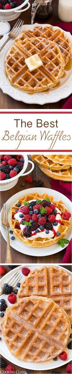 The Best Belgian Waffles: perfect breakfast or brunch! This is my FAVORITE waffle recipe! Light, soft & fluffy inside w/perfectly crisp outsides. LOVE the berries & cream & churro versions. What's For Breakfast, Breakfast Dishes, Breakfast Recipes, Mexican Breakfast, Pancake Recipes, Breakfast Sandwiches, Breakfast Pizza, Think Food, Love Food
