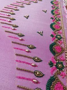 Magam Work Designs, Kids Blouse Designs, Hand Work Blouse Design, Simple Blouse Designs, Bridal Blouse Designs, Hand Designs, Hand Embroidery Design Patterns, Aari Embroidery, Hand Work Embroidery