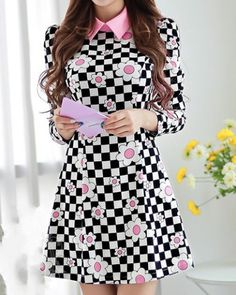 Vintage Long Sleeves Plaid Floral Printed Dress For Women