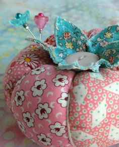 1930's Inspired Patchwork Tomato Pincushion In by fiberluscious