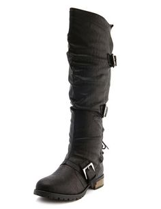 Triple Buckle Knee-High Boot: Charlotte Russe