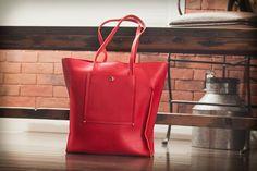Image of Raw Leather Unlined Handbag - Bright Orange/Red