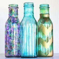 glass bottles + alcohol inks = pretty, shiny vases!
