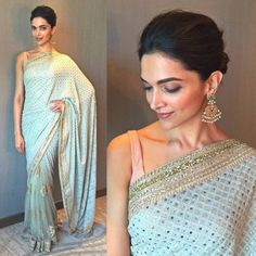 Deepika Padukone In Designer Saree,Georgette saree with raw silk blouse,simple party wear saree,indian wear saree,buy shop aree online