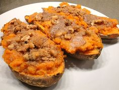 Thanksgiving side dish- twice baked sweet potatoes with walnut streusel