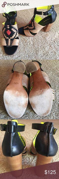 Coach leather western shoes heels sz 9 woven Super cute coach shoes . Worn one time excellent condition . Sz 9 Coach Shoes Heels