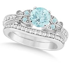 Allurez Preset Butterfly Aquamarine & Diamond Bridal Set Platinum... (43 725 ZAR) ❤ liked on Polyvore featuring jewelry, rings, accessories, wedding ring, diamond engagement rings, platinum engagement rings, platinum rings, diamond wedding rings and butterfly engagement ring