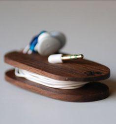Wood earbud holder