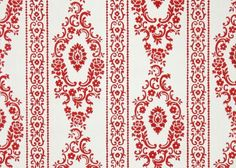 1950's Vintage Wallpaper  Red and White Damask by HannahsTreasures, $14.00