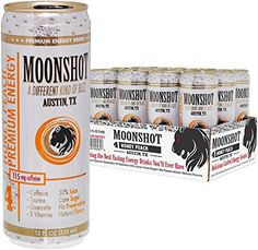 MOONSHOT Sparkling Honey Peach Energy Drink  30 Juice  115mg Caffeine  Pure Cane Sugar  Healthy All Natural Energy Drink  No Artificial Flavors Sweeteners Colors or Preservatives ** See this great product.