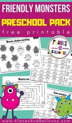 Free monster worksheets for preschool - printable Halloween monster worksheets for prescoolers. #prek #halloween #monsters #planesandballoons