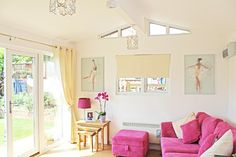 Your very own cottage in the garden.The Weaver Annexe is a beautiful cottage annexe, designed and built to the latest standards. Converted Garage, Pink Sofa, Shed Homes, Palette, Double Bedroom, Small House Plans, Glass House, Living Area, Interior Decorating