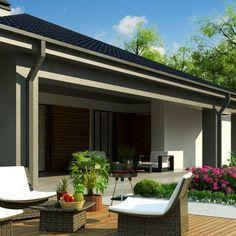 Z344 to wyjątkowy dom z kategorii projekty domów z czterema pokojami Design Case, House Plans, Construction, Patio, Outdoor Decor, Home Decor, Small Houses, Modern House Facades, House Siding