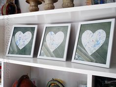 Framed Heart Maps @Amanda Snelson Formaro Crafts by Amanda - great gift idea for newly weds! (Maps are where they met, engaged and married)