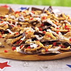 Red, White and Blue Nachos - The Pampered Chef® The Tex Mex rub gives a little kick to these Fourth of July-themed nachos. The recipe is simply a modified version of the Jerk Chicken Nachos.  Like my Facebook page for even more recipe ideas: www.facebook.com/jennifermentingspamperedchefpage