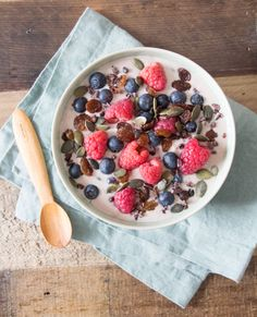 Bircher Muesli with Almond Milk: - GF oats, overripe banana, almond milk, honey, chia seeds, sunflower seeds, pumpkin seeds, raspberries, blueberries, cacao nibs