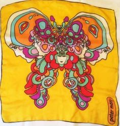 vintage-PETER-MAX-silk-scarf-BUTTERFLY-colorful-FACES