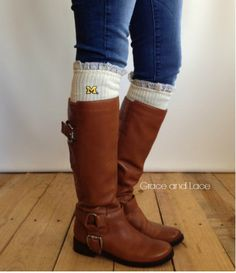 Football is one of the best things about fall, but one of the other best parts? It's boot season again! If you plan on wearing tall boots to your college football tailgate then you may want to invest in a pair of these cute Collegiate Boot Socks from Grace & Lace. College Football Season, Football Tailgate, Michigan Go Blue, Lace Boot Socks, Grace And Lace, Wrist Warmers, Tall Boots, Cable Knit, Riding Boots