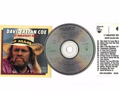 DAVID ALLAN COE Greatest Hits Cd Compact Disc W/JukeBox Title Page Free S/H USA
