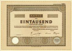 HWPH AG - Historische Wertpapiere - Süddeutsche Zucker-AG / Mannheim, Dezember 1951, Blankett einer Aktie über 1.000 DM, o. Nr.