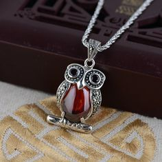 famous brand 925 silver necklace inlaid red Pendant female cartoon cut Owl Natural semi-precious stones garnet with gift box
