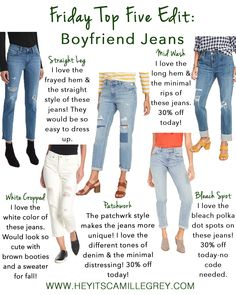 Friday Top Five Edit: Boyfriend Jeans | Hey Its Camille Grey #boyfriendjeans #jeans #fashion #fallfashion #clothing